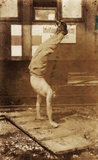Father Čeněk Zlámal exercising. Picture from the World War I period