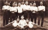Sokol practitioners - tfather Čeněk Zlámal standing second from the left.