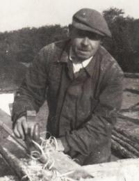 Father Čeněk Zlámal working as a carpenter