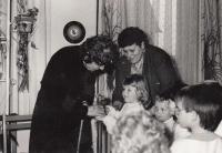 50th anniversary of the nursery school in Slížany; director Anna Šimoníková on the left, Jaroslava Blešová on the right