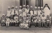 Husband Miloš Zlámal (upper row on the left) in a convent nursery school