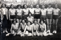 Růžena Talagová (first from the right, sitting) during Spartakiad training, 1955