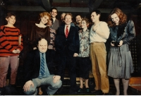 Zlín Municipal Theater after the rehearsal of the Garden Party, Václav Havel is in the middle, Ivan Kalina is the fifth one from the left, March 7, 1990