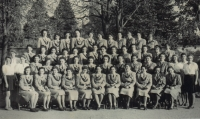 Women of Soběslav Sokols in 1948 - Helena Zvánovcová is in the second row, fifth from the left