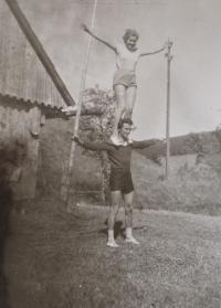 Zdislava Kodešová with her husband-to-be (early 1950s)