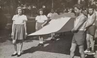 Zdislava Kodešová with the Poděbrady Sokol group (1945)