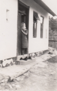 Jaroslav Pánel's mother at home in Vlkov, 1940