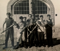 """""""I was not allowed to study so I became an apprentice. I managed to get a place at the end of holidays or I would have to start mining. I wanted to study to become forester or to repair radios. But neither of it was possible."""" narrates Josef Klíma (the shortest one in the middle in the photo)."""