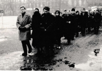 The funeral of the father JUDr. Aloise Běťáka in 1963 in Uherské Hradiště