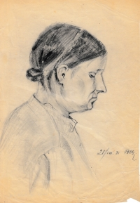 A portrait sketched by Alois Běťák