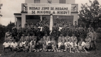 Group photograph  of Sokols and Soběslav firefighters