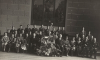 A school orchestra, Karel Štancl sitting as the second one from the right, 1934