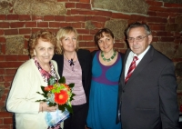 Mr and Mrs Dostál with their daughters, Liberec, wedding anniversary – 60 years, 2013