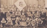 The 1st group of Chotěboř scouts, Bohuslav Kořínek in middle row, front from left. 1925
