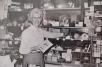 Vlasta Vaňoučková as a shop assistent, the 1970s
