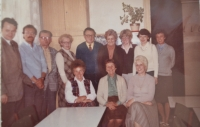 With her co-workers, the 1970s