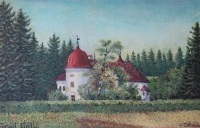Golič Castle in today Slovenia; reproduction of a painting on a postcard, author O. Zahrada