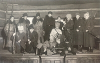Theatre performance of a play called Cavalry guard, 7th March 1936. Bohuslav Kořínek second from right.