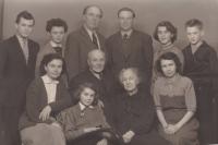 Top row, from left: cousin Zdeněk Štěpánek, cousin Věra Henzlová, mom's brother Zdeněk Štěpánek the Elder., Bohuslav Kořínek, cousin Květa Nádvorníková, brother Miloslav Kořínek; bottom row, from left: Květa Štěpánková, Iva Bejčková, née Kořínková, grandpa Adolf Štěpánek, grandma Růžena Štěpánková, and moVěra Kořínková. 1957