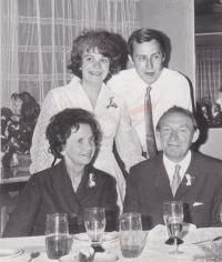Iva Bejčková with her husband Vlastimil, her mother Věra and father Bohuslav.