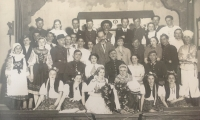 Group photograph of the amateur theatre group in Chotěboř. The Play After the last bugle call was performed on the 1st and 8th March 1937. Bohuslav Kořínek in the second row, far right.