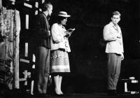 From the left Pavel Veselý, Milena Šajdková, Luděk Nekuda / A performance of 'Kabaret pro štěstí'