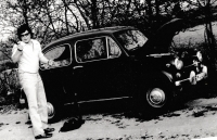 Miroslav Jeník at his Fiat 600, with whom he was in a tragic accident of a Russian tank on August 21, 1968 in Desná in the Jizera Mountains