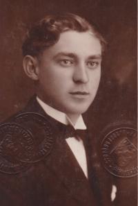 Bohuslav Kořínek at the time when he studied in Hradec Králové.
