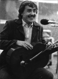 During a concert, mid 1970s