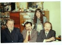 Resistance Movement (sitting from left to right: Ivan Hel, Bohdan Horyn, Vyacheslav Chornovil, standing - Alik Olisevych), Lviv, 1988