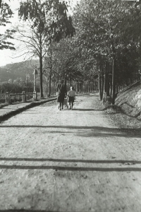 Eva's mother (in a pram) and Pavel on a walk in Tišnov, where they lived during the war, 1940