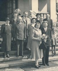 The wedding of Věra Špiková and Břetislav Skrbek. 1952