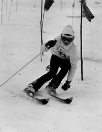Olga Charvátová doing the slalom,1973