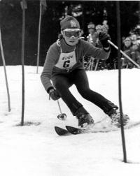 Olga Charvátová during a competition, 1974