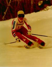Olga Charvátová competing in Czechslovak colours in 1984
