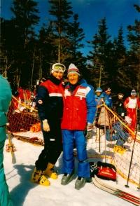 Olga Charvátová with her assistant shortly before ending her career (1986)