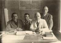 Ing. Jindřich Macháček (second from the left) with colleagues from work, Žilina 1939