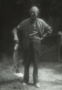 Jindřich Macháček, a passionate fisherman with his catch (pike), 1950