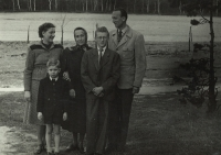 From left back - Eva's mother, grandmother Macháčková, her son Jindřich, Eva's father, from left front Eva's brothers Martin and Pavel, Kožlany circa 1954