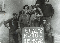 Eva (back left) and Archi (back right) with Boy Scouts, 1972