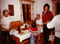 Eva (standing on the right) with parents and children, cottage near Rožmberk 1975