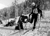 Olga Charvátová duriing training, 1975
