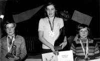 Olga Charvátová wining the national championship in 1974
