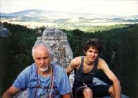 Climbing with his son Dan