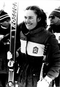 Olga Charvátová at Sarajevo 1984 Winter Olympics