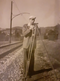 Eva's father at work, as a surveyor measuring the track, Rožmberk - Vyšší Brod, 1956