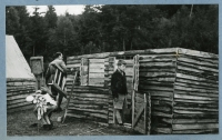 The construction of the camp of the 7th section of Catholic scouts under Blaník, 1937