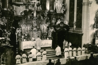 A church service in the Church of St. Ignac, Prague, second half of the 1940s