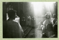 The church service in the Church of St. Ignac, Prague, second half of the 1940s