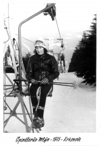 Olga Charvátová at a chairlift in Špindlerův Mlýn, 1975